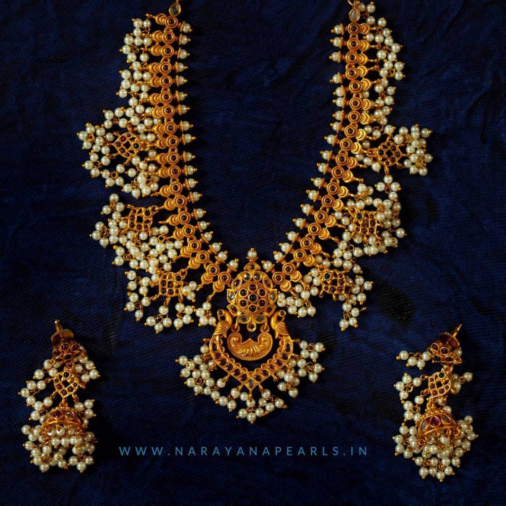 Pretty Guttapusalu Necklace Set From Narayana Pearls