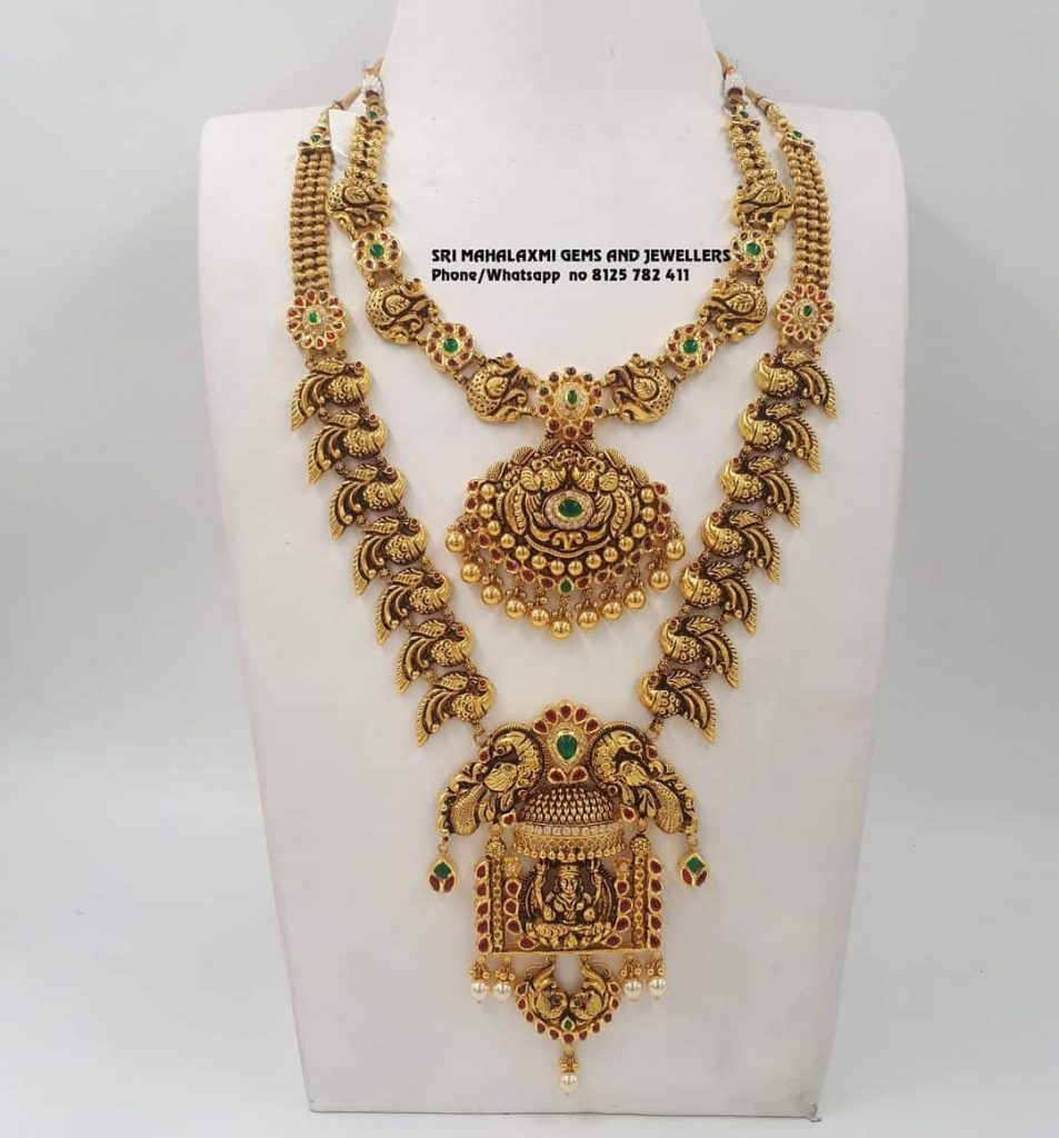 Attractive Gold Necklace Set From Sri Mahalakshmi Gems And Jewels