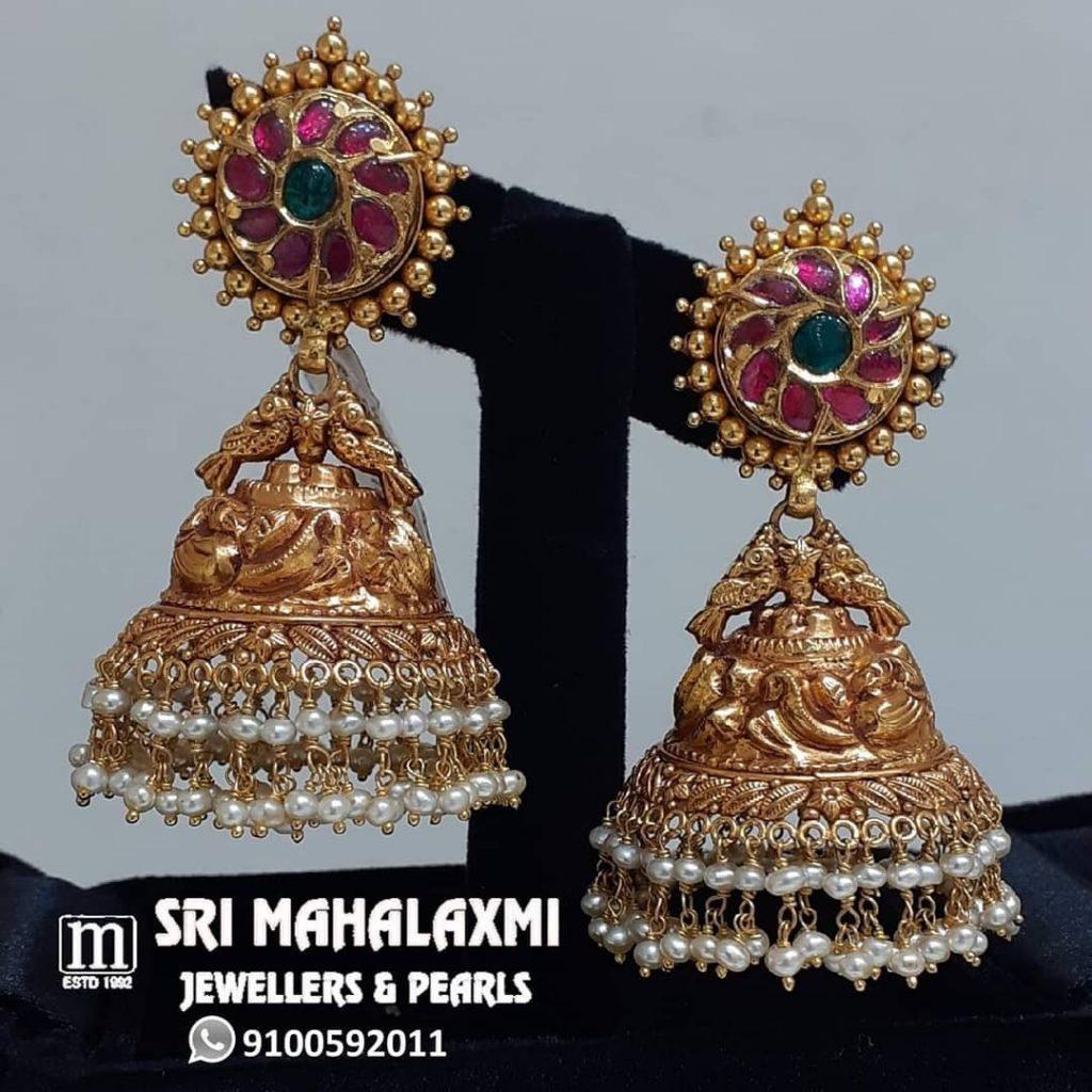 Beautiful Bold Jhumkas From Sri Mahalakshmi Gems And Jewellers