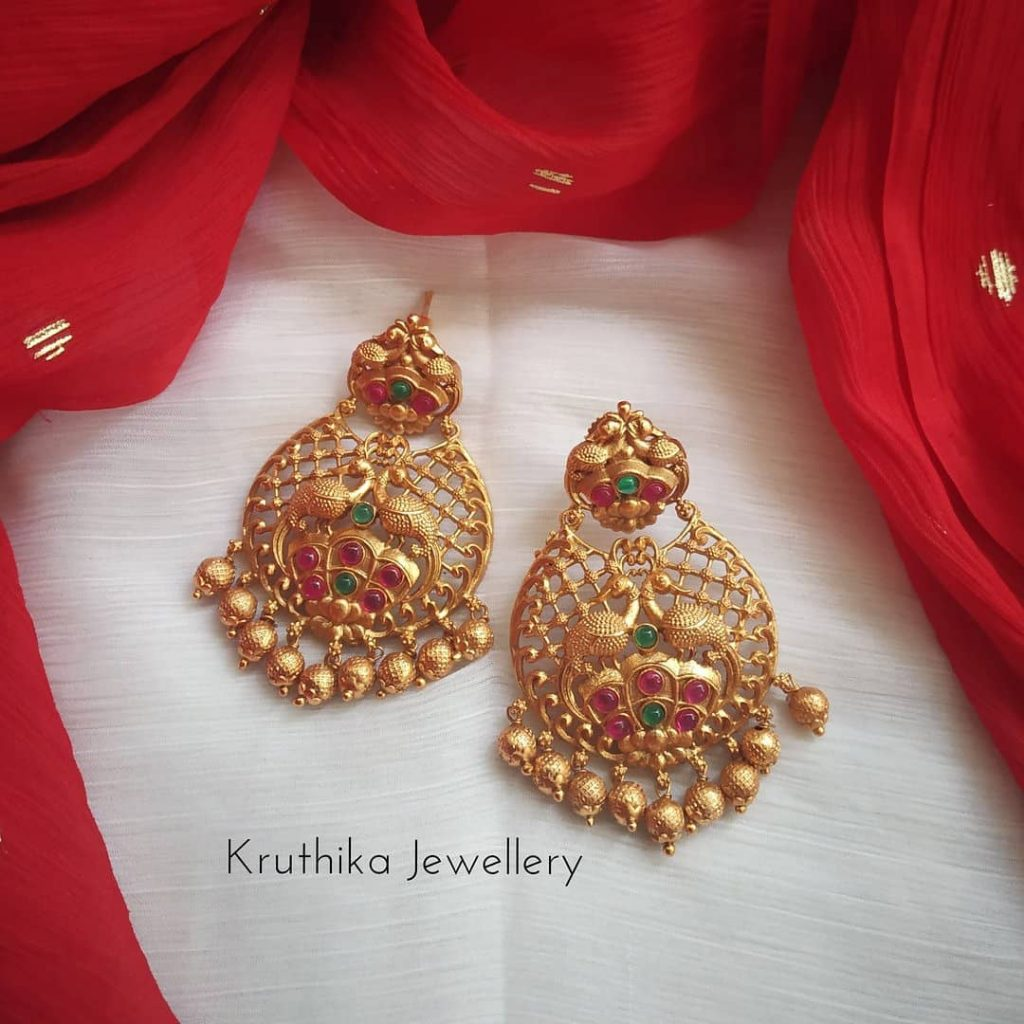 Cute Peacock Earrings From Kruthika Jewellery