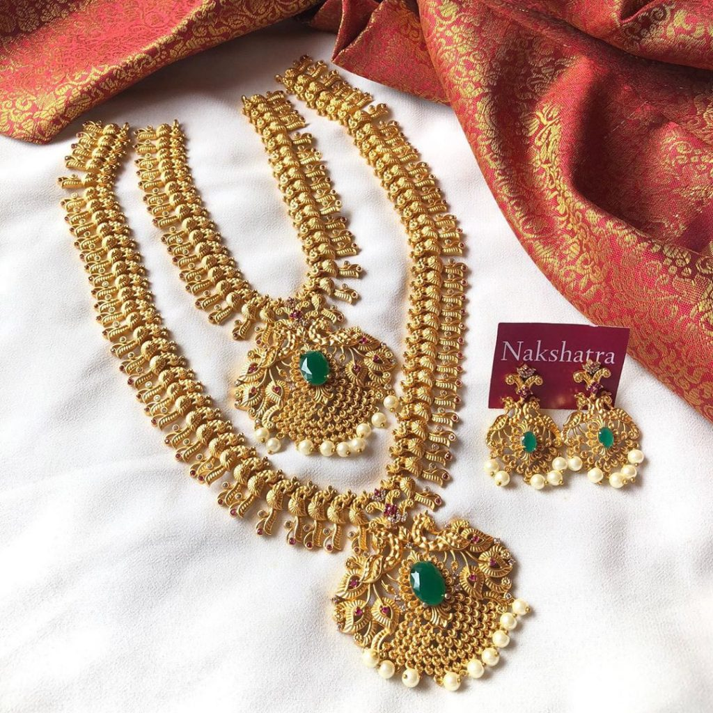 Dual Peacock Bridal Combo Set From Nakshatra Chennai