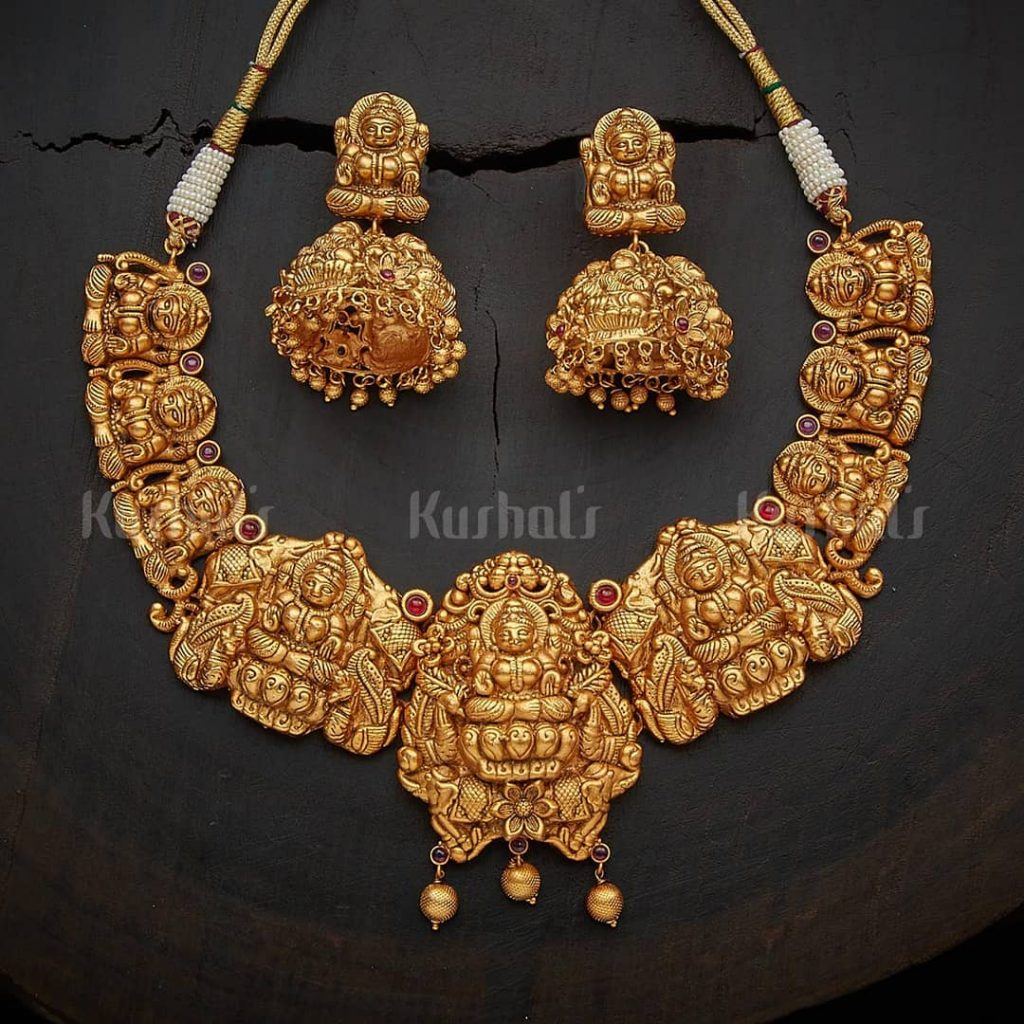 Elegant Temple Necklace Set From Kushal's Fashion Jewellery