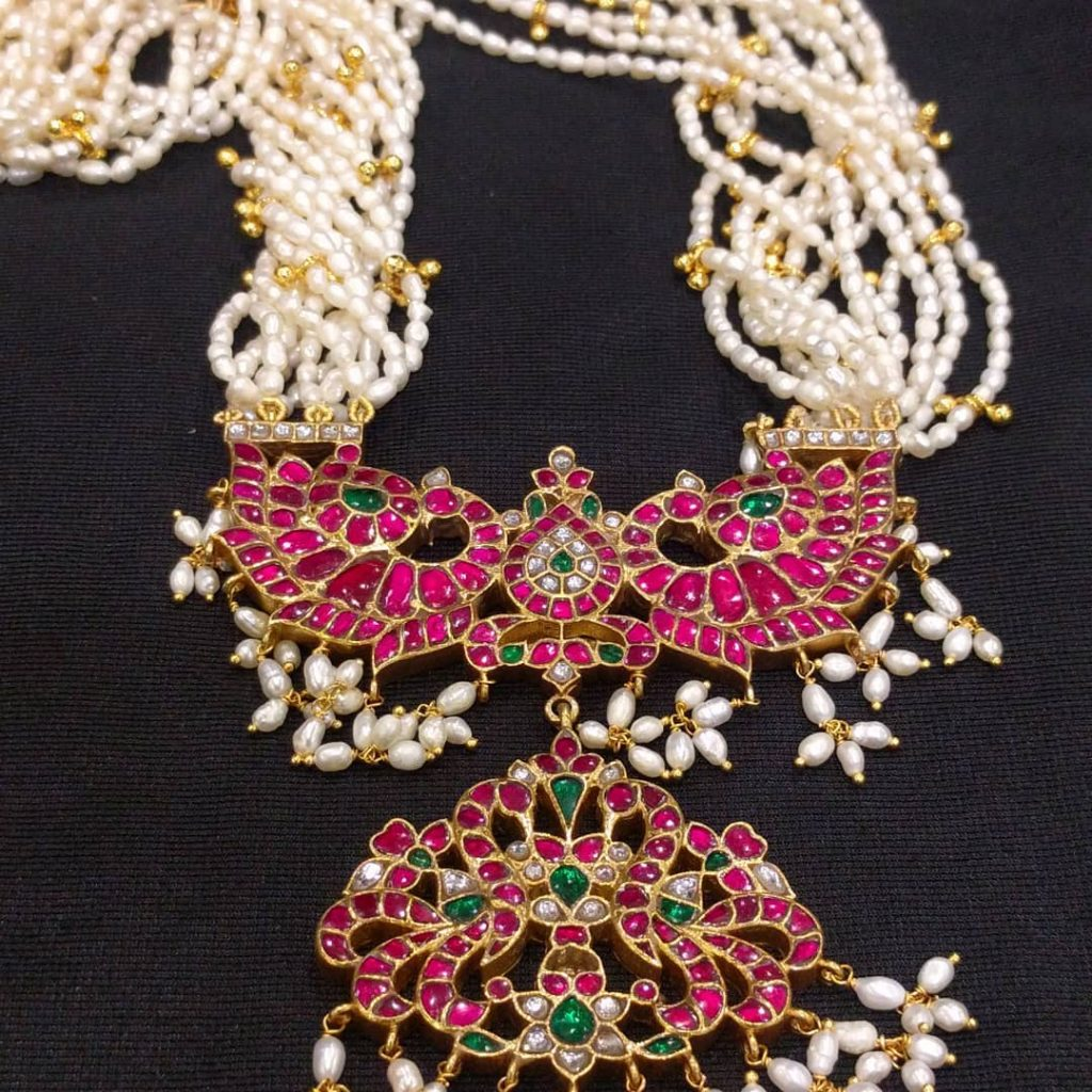 Ethnic Silver Necklace From Samskruthi Jewellers