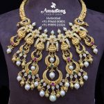Goddess Lakshmi Gold Nakshi Necklace From Amarsons Pearls And Jewels