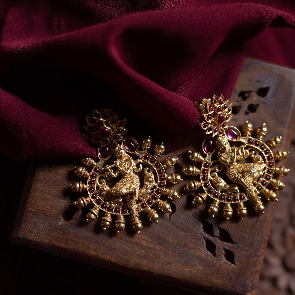 Goegeous Handcrafted Krishna Earrings From Quills And Spills