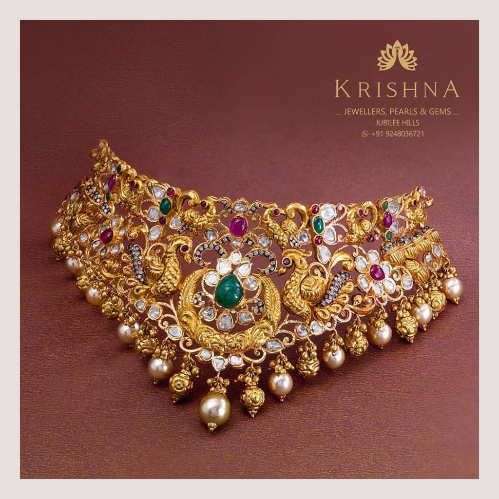 Gorgeous Choker from Krishna Jewellers Peasrls And Gems