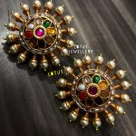 Lovely Navaratana Stud From Lotus Silver Jewellery