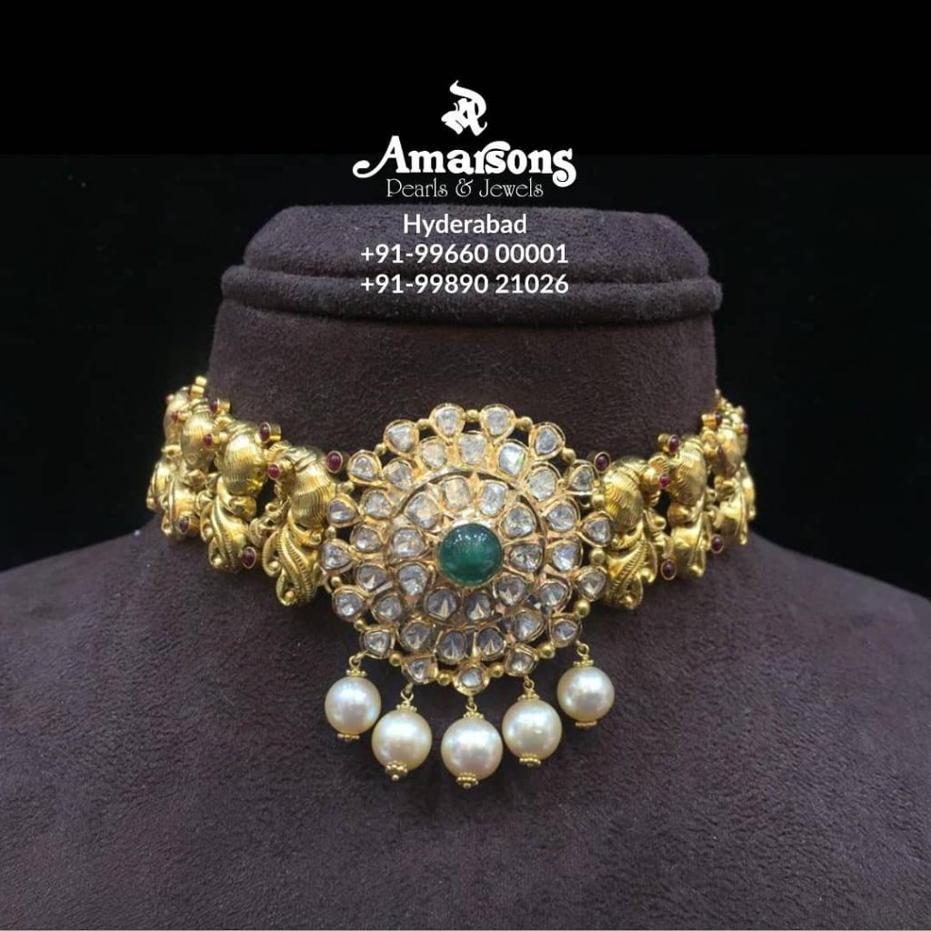 Antique Gold Choker With Polki Pendant From Amarsons Jewellery