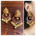 Matte Peacock Ruby Chaandbali Earrings From Zahana