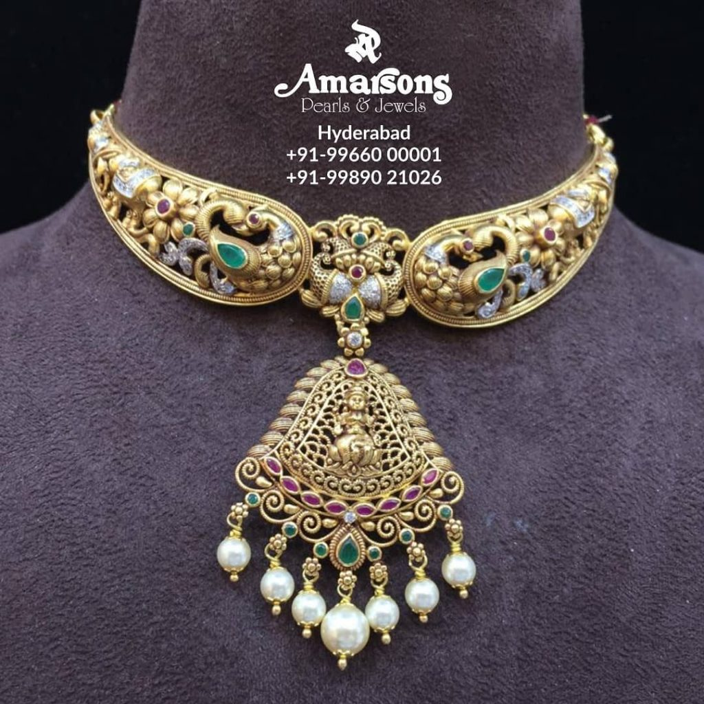 Nakshi Gold Choker From Amarsons Jewellery