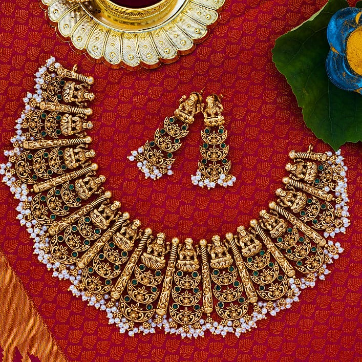 Royal Semi Precious Necklace Set From Narayana Pearls