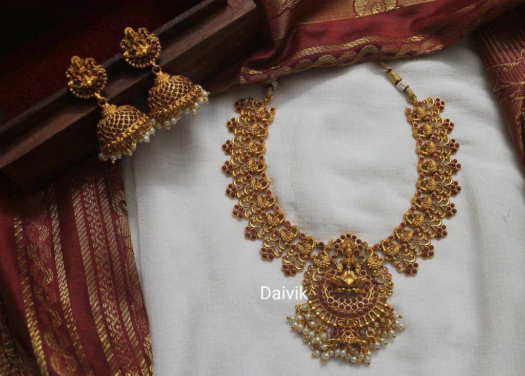 Ruby Lakshmi Necklace And Jhumkas From Daivik