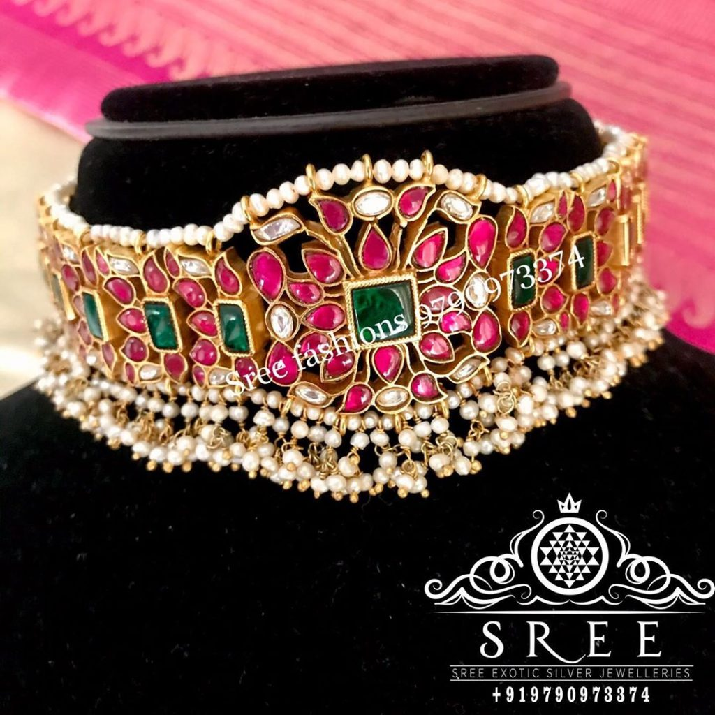 Adorable Silver Choker From Sree Exotic Silver Jewelleries