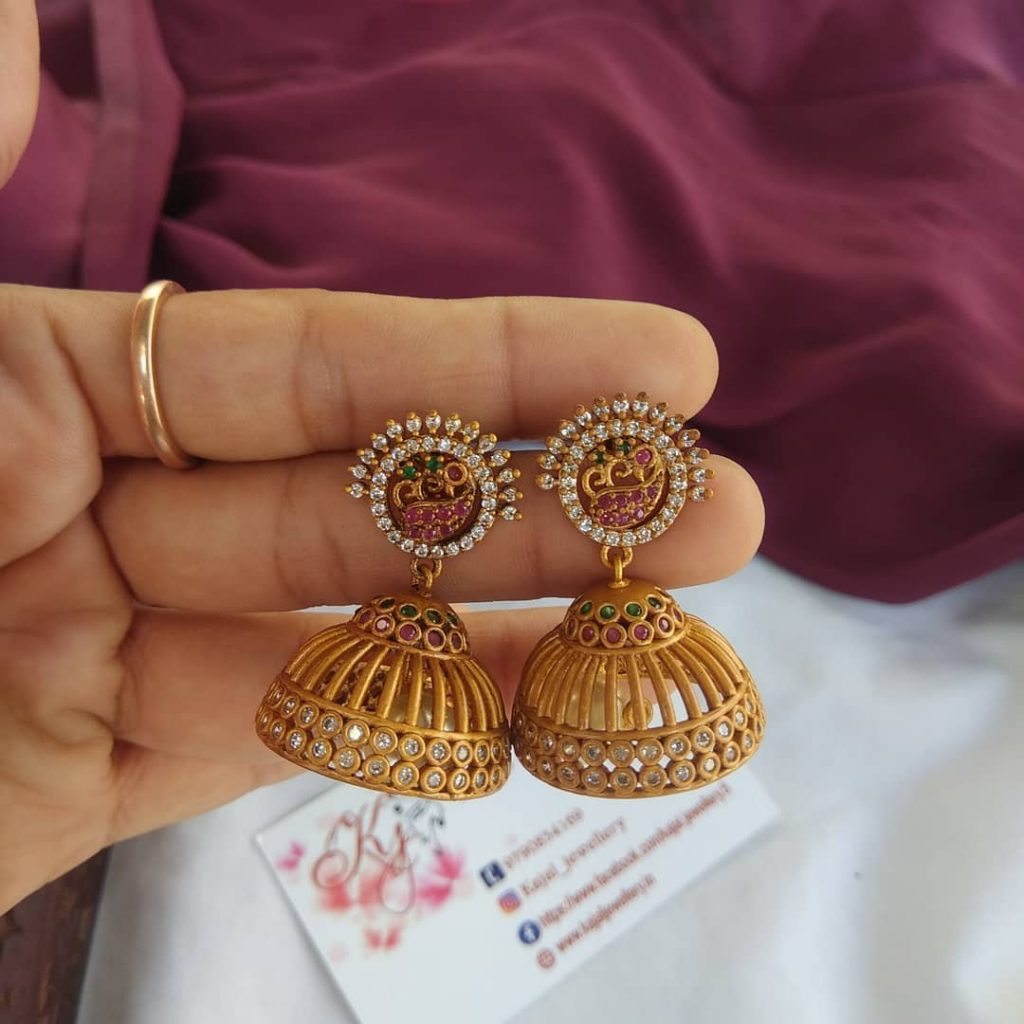 Pretty Jhumkas From Kajal Jewellery