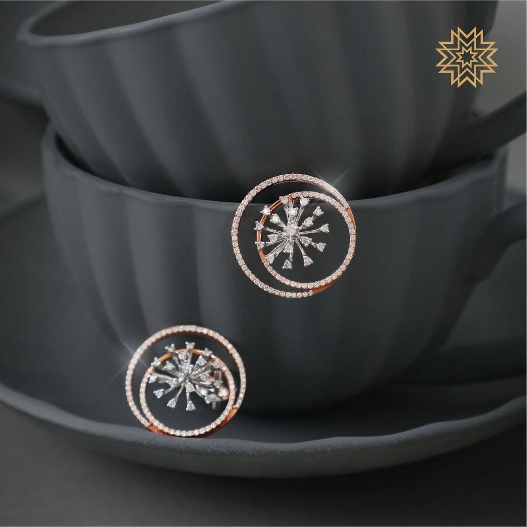Pretty Diamond Earrings From Manubhai Jewels