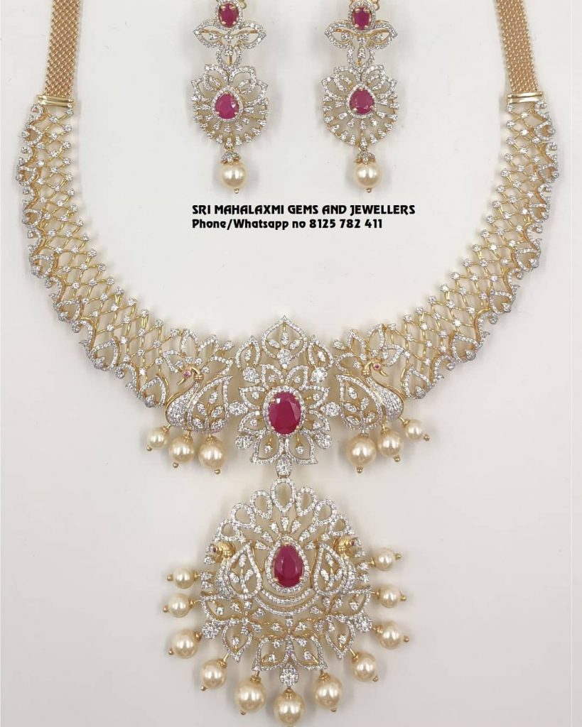 Decorative Diamond Necklace Collections From Sri Mahalaxmi Gems And Jewellers