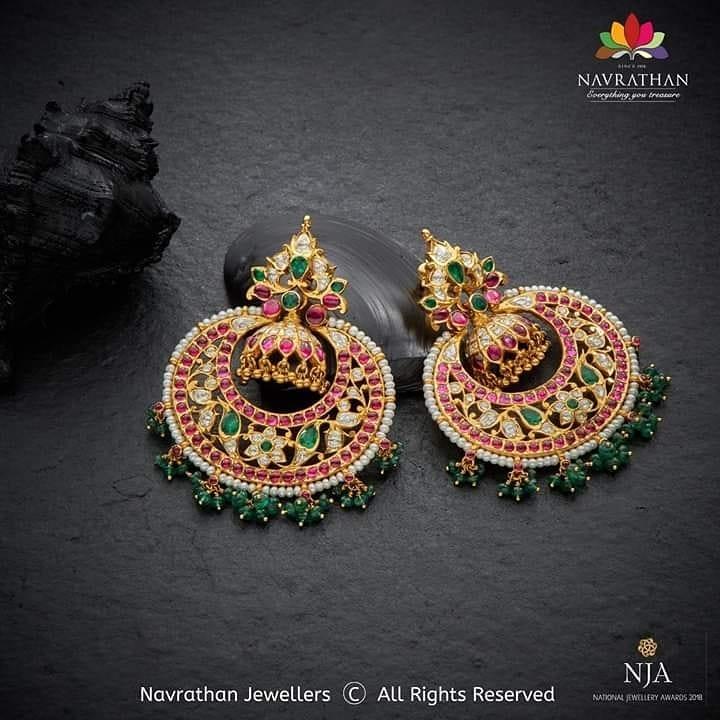 Trendy Gold Earrings From Navrathan 1954