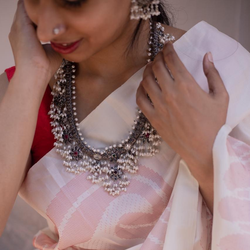 Grand Pearl Silver Necklace From Prade Jewels