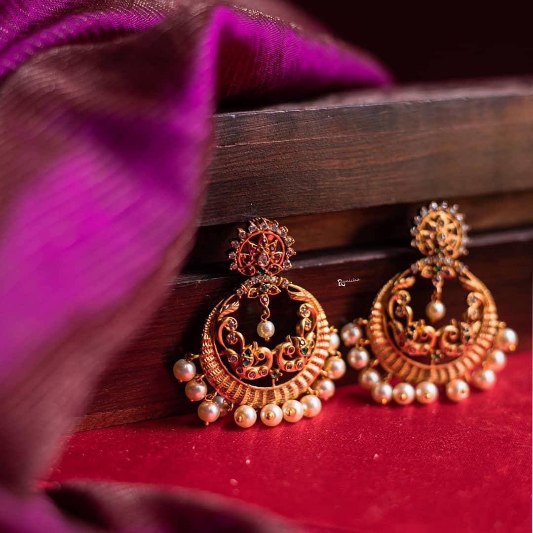 Matte Gold Peacock Earrings From Anicha