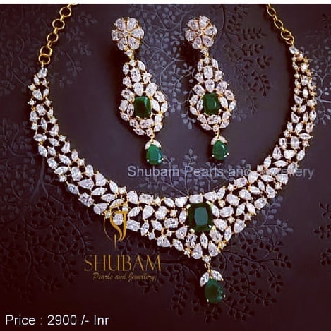 Deigner Stone Necklace Set From Shubam Pearls