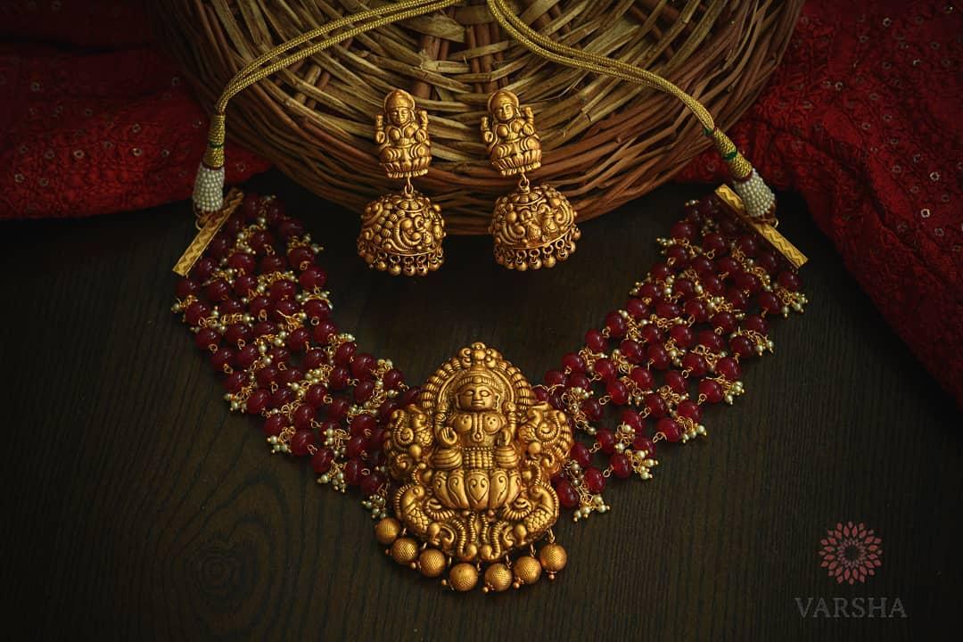 Mind Blowing Temple Necklace Set From Varsha Designers