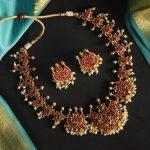 Half Moon Kempu Temple Necklace Set Jewellery