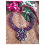 Brass Base Silver Look Alike Necklace with Pink Ad Stones