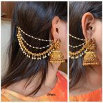 Jhumkas with Ear Chain by the brand Zahana