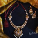 Matte Gold Finish Lakshmi Necklace Set