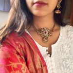 Peacock Matte Choker Necklace with Jhumkas