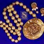 Pearl Design Necklace Set with Lakshmi Pendant