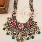 Pure Silver Tribal Necklace with Kundan Stones
