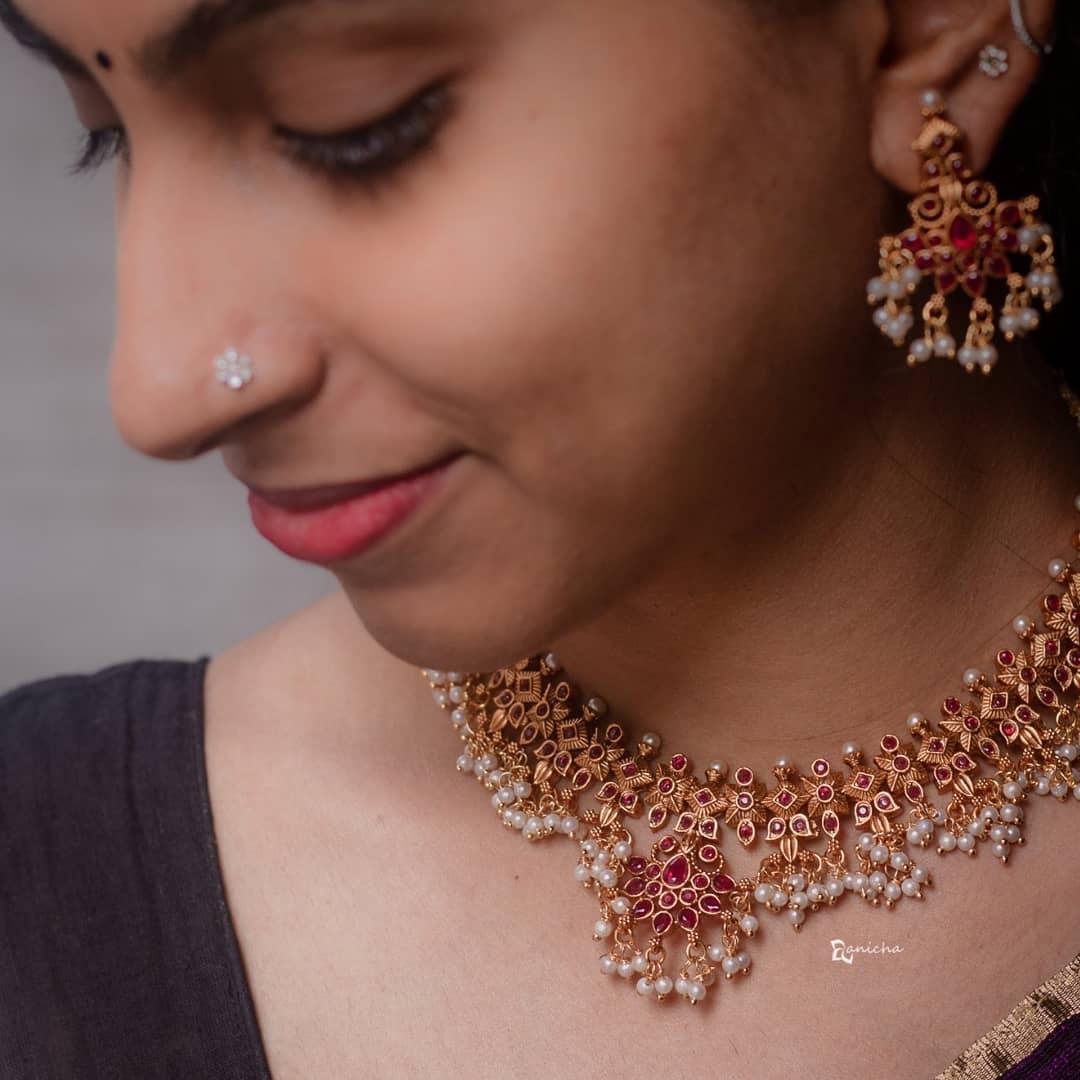 ruby-flower- guttapusalu- necklace-set