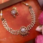 White and Gold Choker Set by Aarvee Chennai