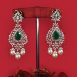 Diamond Earrings with Emerald and Pearls