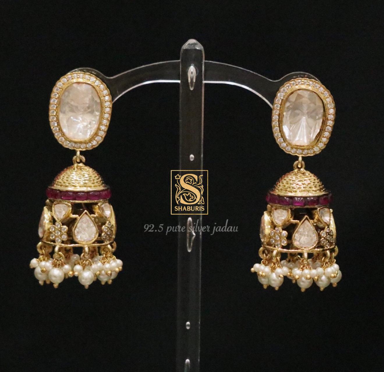 beautiful-stone-kundan-pearl-jhumkas
