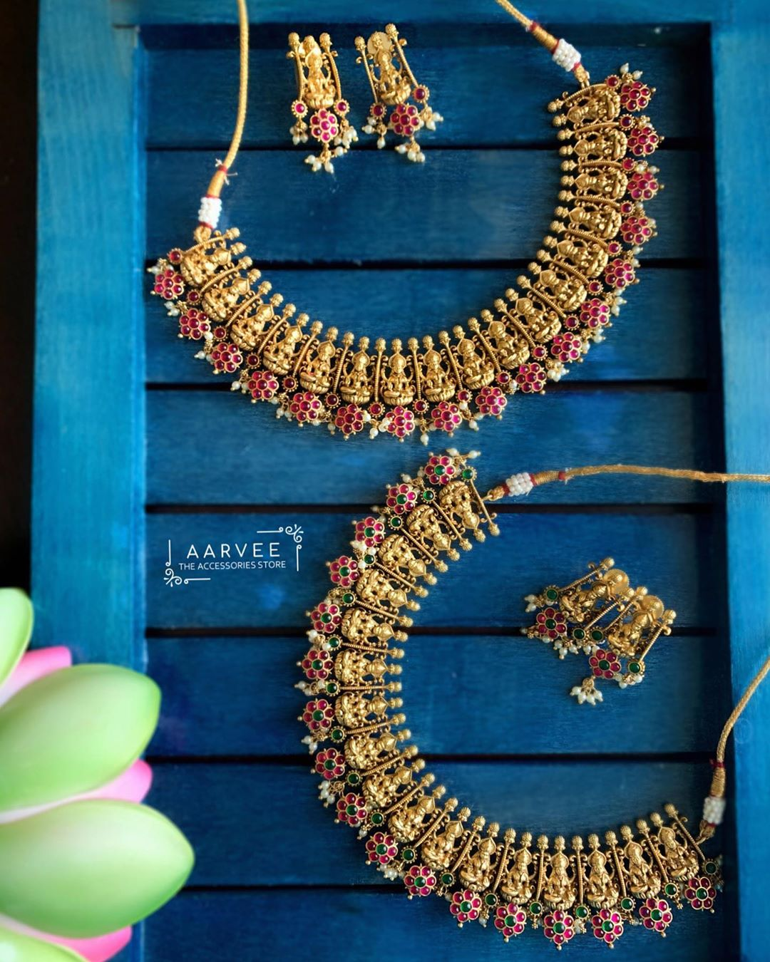floral-lakshmi-necklace-sets