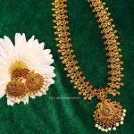 Matte Finish Peacock Design Long Necklace