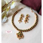 Matte Gold Green Stone Necklace Set
