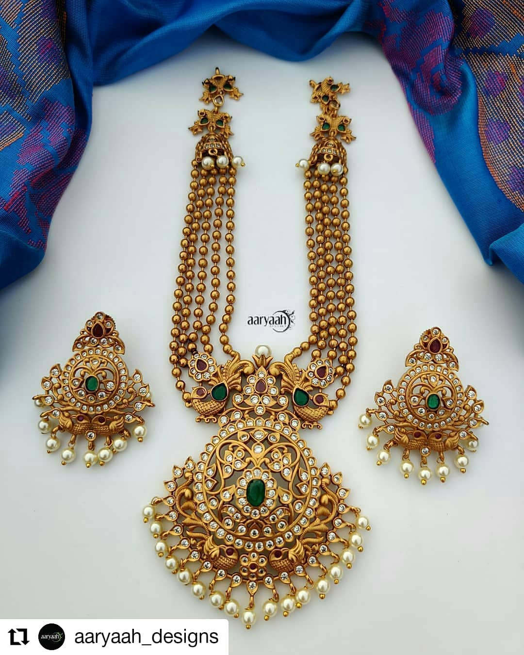 Multi Layered Matte Gold Necklace With Ad Stones And Pearls South India Jewels