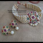 Pearl and Multicolor Stones Choker Necklace Set