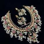 Silver Gold Polished Guttupusallu Set with Semi Precious Stones
