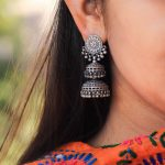 Silver Layered Jhumkas by Shyle by Astha