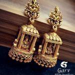 Temple Design Jhumkas Online by Garv Silver Jewellery