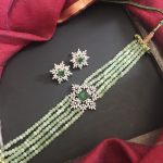 Green Beaded Choker Necklace Set