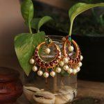 Imitation Real Kemp Stone Chandbali Earrings