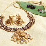 Lakshmi Pendant Necklace With Blue Stones