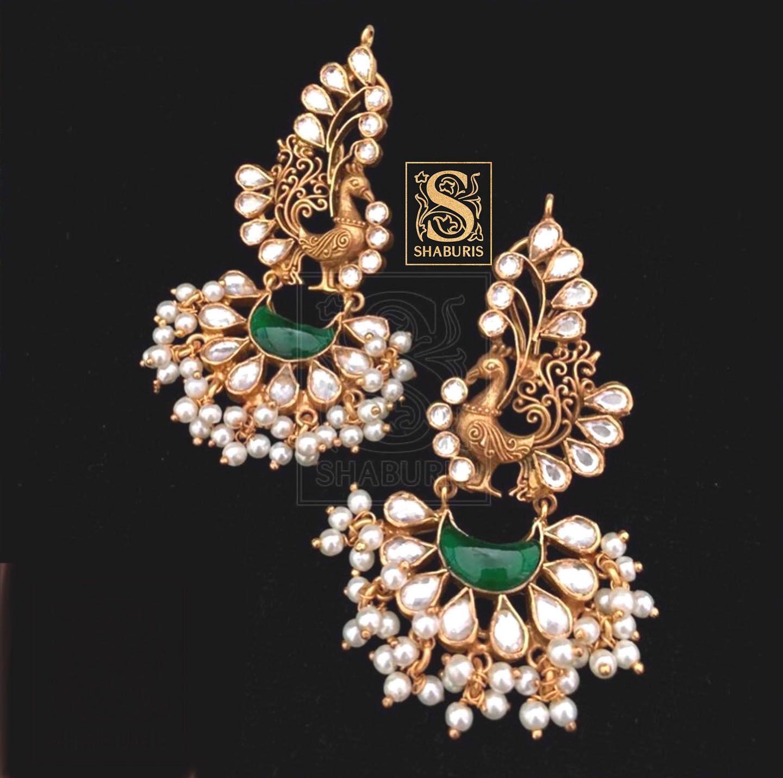kundan-pearl-peacock-earrings