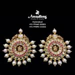 Lakshmi Polki Gold Earrings With Pearls