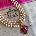Multilayered Pearl and Kemp Stones Necklace